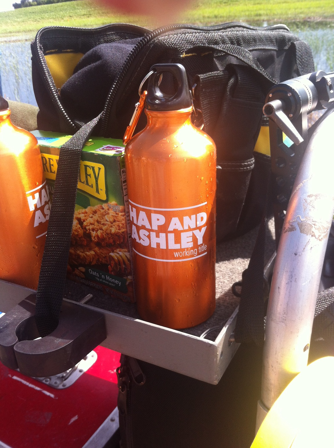 The crew doesn't come to the set without their Hap and Ashley water bottles!